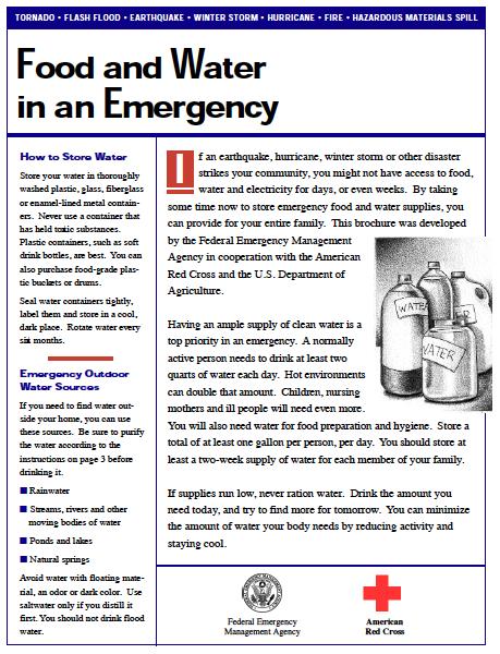 Food & Water Preparedness