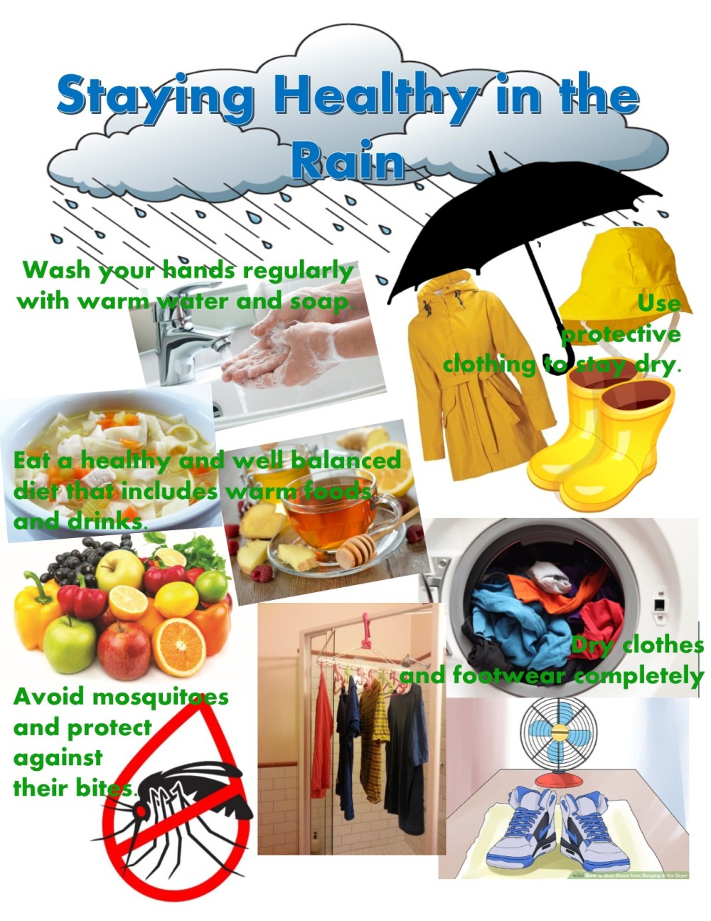 collage-staying healthy rainy season